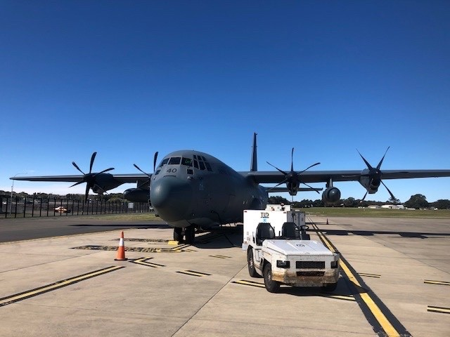 RAAF flight with cargo at Sydney